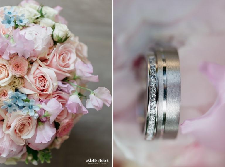 bouquet mariage rose et bleu