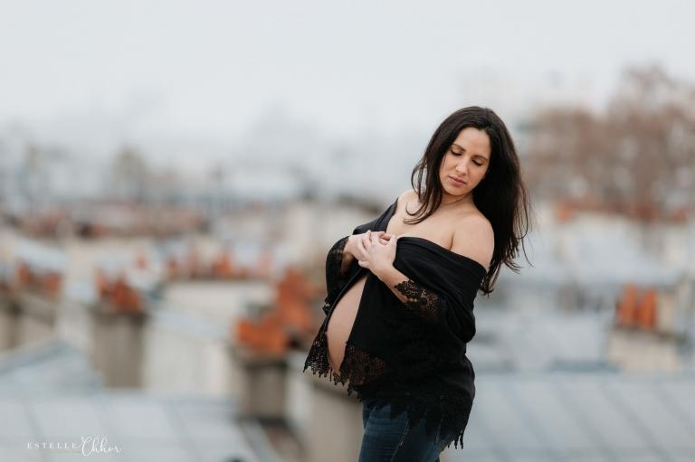 S ance photos grossesse sur les toits de paris estelle for Estelle chhor