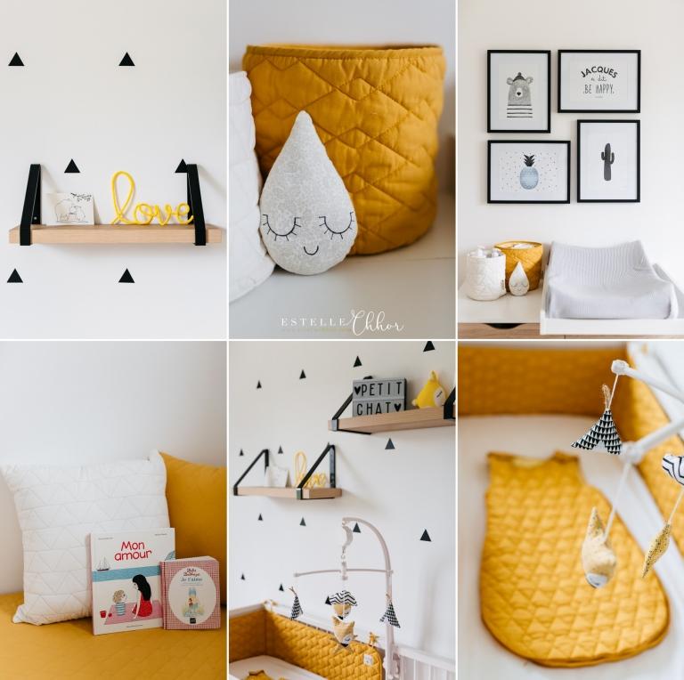 idée décoration chambre bébé scandinave jaune moutarde et noir