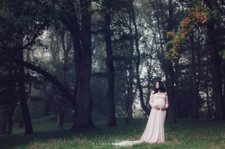 hoto artistique de grossesse en forêt