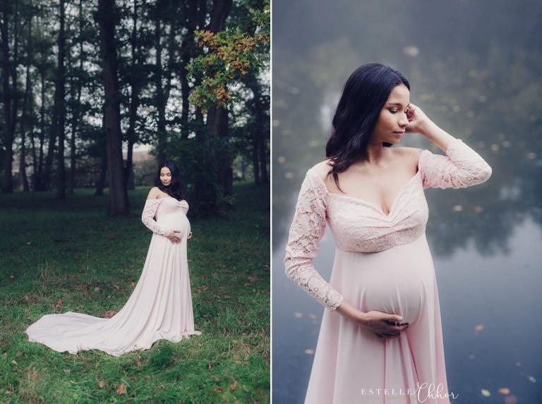 séance photo de grossesse poétique en extérieur